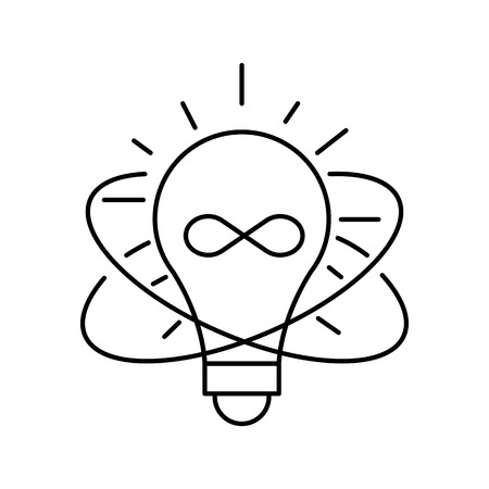 illuminate: Lamp line icon on white background. Idea symbol. Isolated vector lined illustration for web or app design.