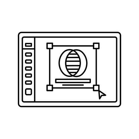 space program: Logo creation in program lined icon. Graphic design line icon. User interface in window. Isolated vector lined illustration for web or app design.