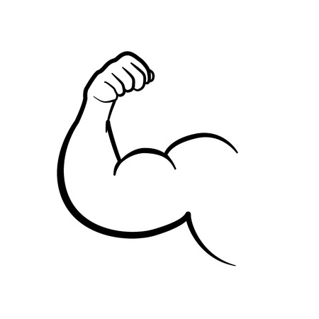 Muscle black icon isolated on white background