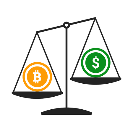 Bitcoin vs dollar vector concept with balance scales. Flat design vector illustration isolated on white background. Illustration