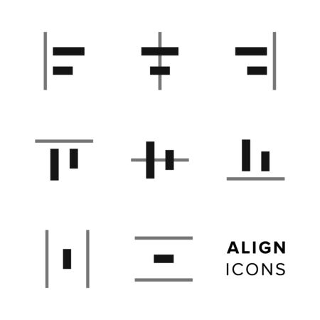 formatting: Align icons collection. Set of simple editing and formatting icons for toolbar. Illustration
