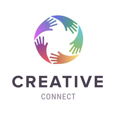Hands logo. Abstract logo design. Vector concept or conceptual circle spiral of colorful hand symbols.