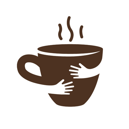 Creative coffee or tea cup and hands logo design. Cafe or restaurant symbol. Unique logotype design template. Hug hot cup vector illustration