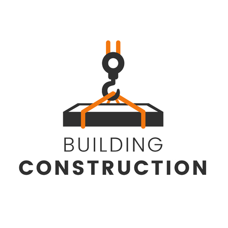 residential: Building construction logo template vector illustration. Crane concept symbol. Real estate building sign. Reconstruction web page. Design symbol element. Illustration