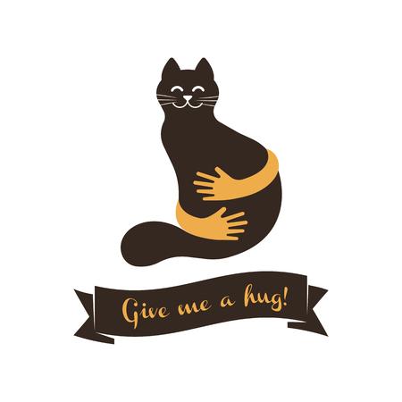 Hands with cat silhouette logo. Pets care vector logo template. Cat logo vector concept. Pet shop logo vector illustration Ilustração