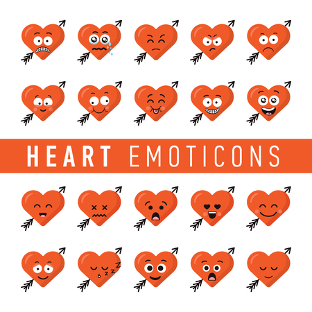 Set of flat design style heart emoticons. Valentines day hearts emoticon icon set.