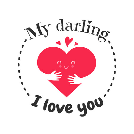 I love you funny face heart. Greetin cart, banner or poster with happy smile on heart and hands