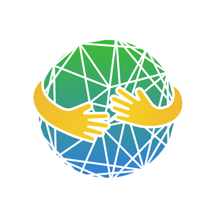 Abstract earth in hands. Circle hug vector illustration