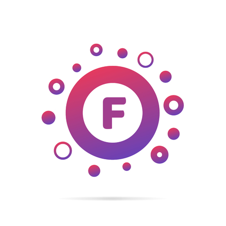 Letter F with dots. Logo design vector illustration isolated on white background