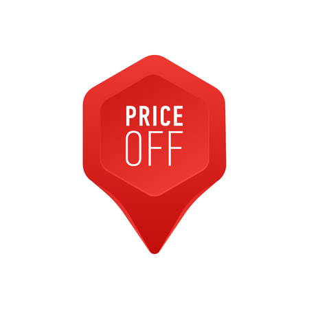 Pointer For Sale Or Discount Price Off Tag Icon Red Point Arrow On White Background Vector Illustration