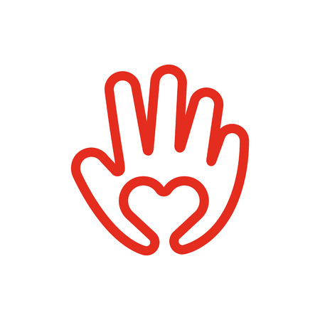 Heart In Hand Line Icon Love And Care Concept Creative symbol  Vector Illustration