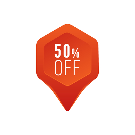Discount pointer or marker icon. 50 percent sale symbol flat vector illustration.
