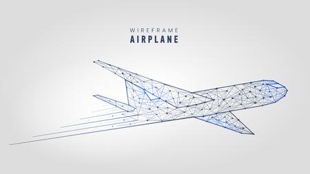 Avion polygonale, plan de structure filaire modèle low poly avion sur illustration vectorielle fond gris.