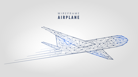 Polygonal airplane, wire frame structure template low poly plane on gray background vector illustration.