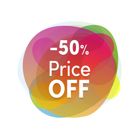 Sale sticker colofrul flat design. Product promotions, 50 percent off price. Modern discount tag or icon isolated
