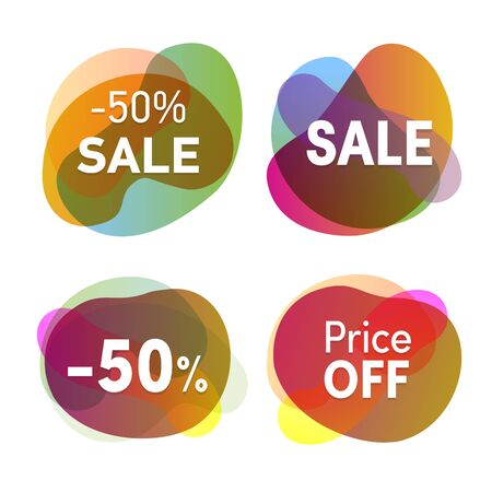 Sale stickers set. Discounts and price reduction badges collection. Colofrul flat icons isolated.