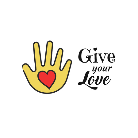 Hand with heart shape icon. Give your love lettering. Charity and donation concept. Vector illustration of people assistance and support element.