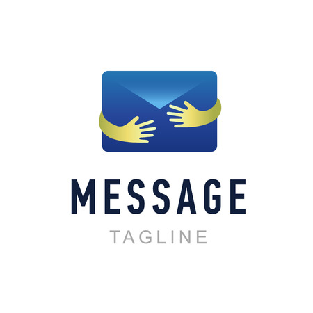 Message logo template. Hand holding envelope. Mail service identity, commercial and app icon symbol. Creative vector illustration.