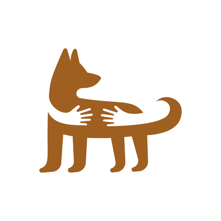 Hands hugging dog logo template. Pet shop or veterinary clinic emblem. Animal care and love concept. Illustration