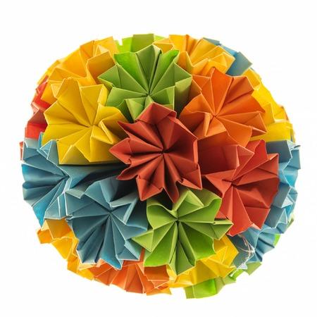 Beautiful Handicraft Origami Kusudama From Rainbow Flowers Stock