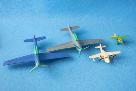 Set of little vintage models of airplanes in miniature
