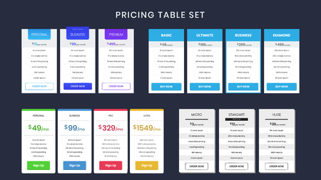 Set of colorful pricing table