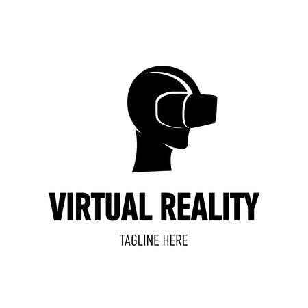 Head with virtual reality goggles Ilustración de vector