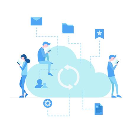 Illustration vectorielle, jeunes utilisant des gadgets mobiles pour envoyer des SMS, communiquer et partager des fichiers