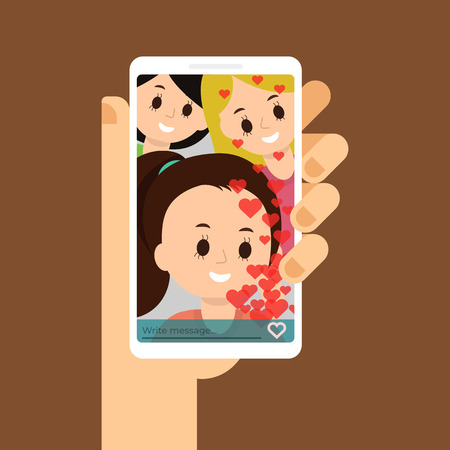 Flat illustration of video call with friends, family. Chatting with friends. Smartphone in the hand