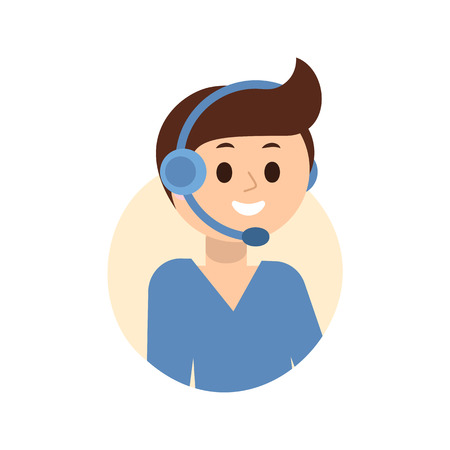 Operator of call center in headphone