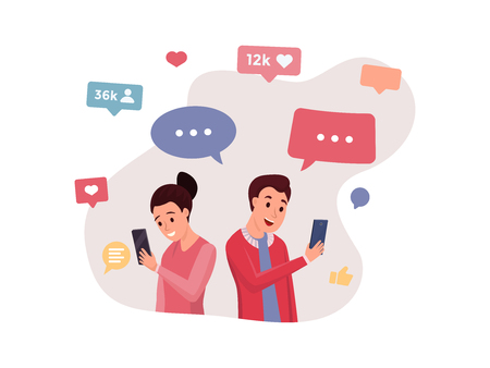 Cartoon smiling people using smartphones for virtual communication. Accounts profiles with with friends likes messages icons flat style. Social media concept. Isolated on white