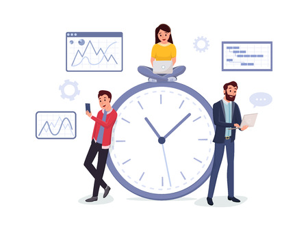 Men and women working via internet using modern laptop and smartphone vector illustration. Time management concept. Charts graphs diagrams on background