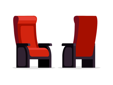 Set of movie theater red comfortable chair front and back view vector illustration. Empty seats isolated on white background