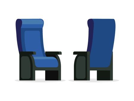 Set of blue comfortable chair front and back view vector illustration. Empty seats isolated on white background