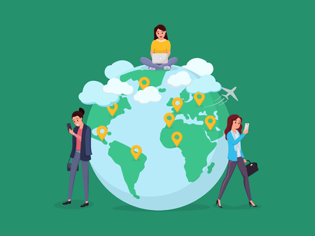 Networking between women from all over the world. Global worldwide communication vector illustration. Girls with gadgets near globe symbol. Social media concept. Isolated on green
