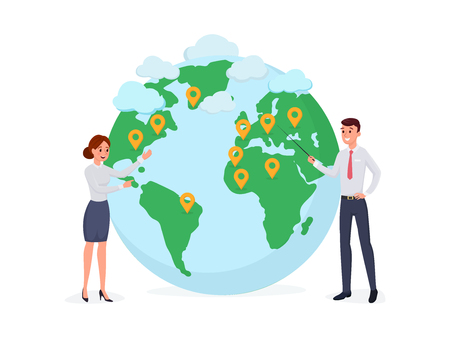 Cartoon people standing at world map with pins. Poster for presentation web page banner or social media vector illustration. Globalization worldwide business concept. Isolated on white Illustration
