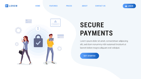 Protection of digital banking services for website vector illustration. Internet money transfers paying defense flat style. People using gadgets for online transaction. Lock password credit card icons Ilustrace