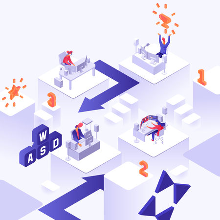 Professional gaming concept. Personal computer working and making money via video games isometric vector illustration