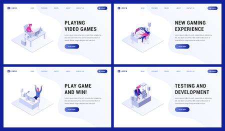 Composition consist of webpage template playing video games, new expirience, play and win and testing and development vector illustration. People using computers for different purposes.