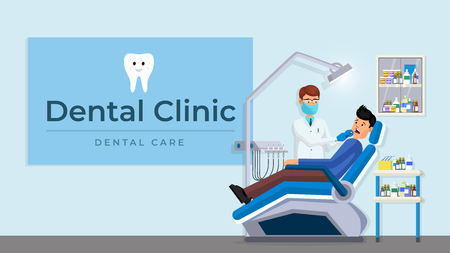 Patient with toothache in dentist chair vector illustration. Doctor examining man lying at dentistry office chair flat style design. Tooth ache checkup examination appointment. Dental care concept Foto de archivo - 124639569