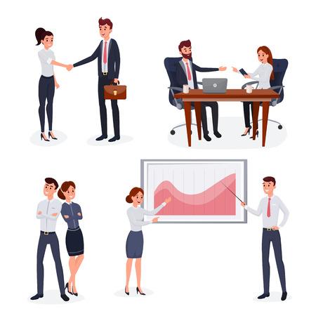 Business people set flat style vector illustration isolated on white background Ilustração