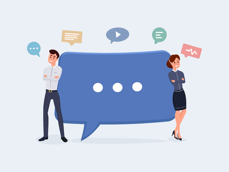 Business people with speech bubbles. Communication concept, discussing business, news vector illustration