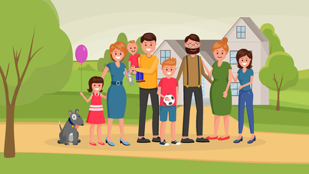 United family together standing outdoors hugging and smiling with grown up teenager children flat style vector illustration. Happiness of parenting concept