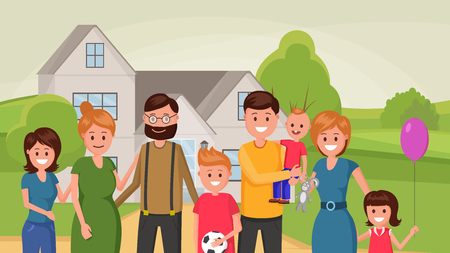Cartoon grandparents standing outdoors hugging and smiling with grown up teenager children vector illustration. Happiness of parenting concept. Outskirt landscape
