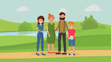 Mother and father with two children of different age younger boy and older girl standing in park flat style vector illustration. Family concept 向量圖像