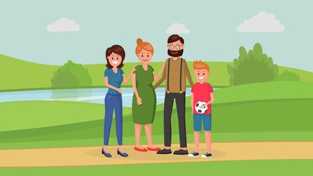 Mutter und Vater mit zwei Kindern unterschiedlichen Alters jüngeren Jungen und älteren Mädchens, die in der flachen Artvektorillustration des Parks stehen. Familienkonzept