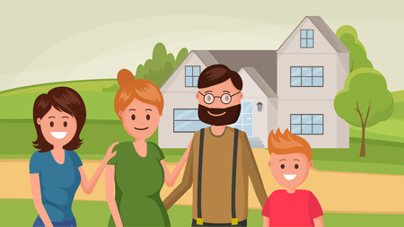 Family standing near house flat style design vector illustration
