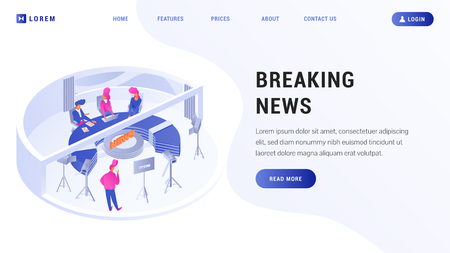 Website template with cartoon speakers sitting near big round table and camera man broadcasting live in high tech room vector illustration. Place for text read more button