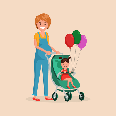 Pregnant cartoon woman standing with small cute kid girl in carriage. Child holding three red green and pink air balloons vector illustration. Happiness of motherhood concept. Isolated on light