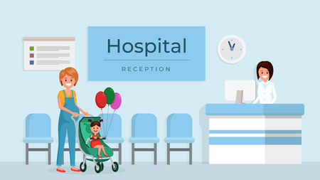 Caring cartoon mother with smiling little daughter in baby carriage at hosp vector illustration. Child holding colorful air balloons. Routine medical examination concept